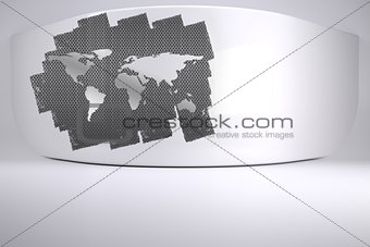 Abstract screen in room showing world map
