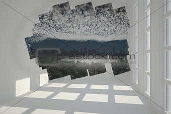 Abstract screen in room showing cityscape beneath stars