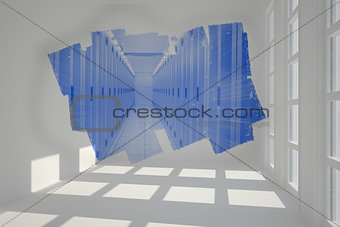 Abstract screen in room showing server hall