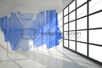 Abstract screen in room showing
