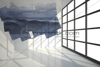 Abstract screen in room showing mountains
