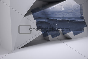 Abstract screen in room showing mountain