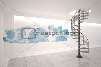 Abstract screen in room showing cogs and wheels