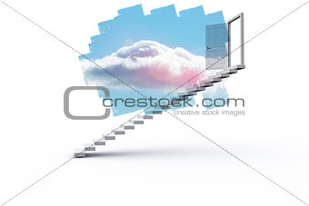 Abstract screen in room showing cloudy sky