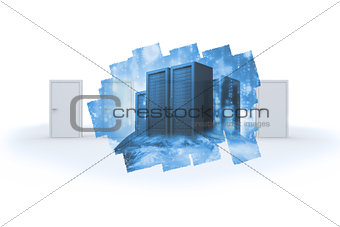 Abstract screen in room showing server towers