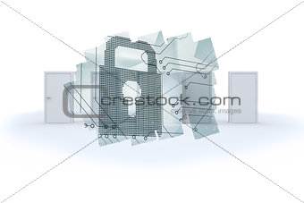 Abstract screen in room showing circuit board and lock