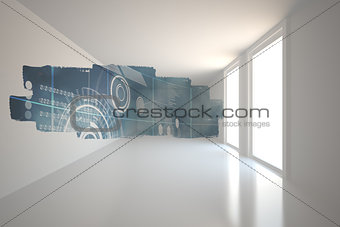 Abstract screen in room showing technology interface