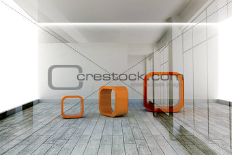 Abstract orange shapes in room