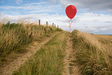 Balloon above sand dunes
