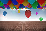 Many colourful balloons background