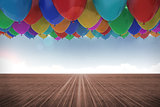 Many colourful balloons sky background
