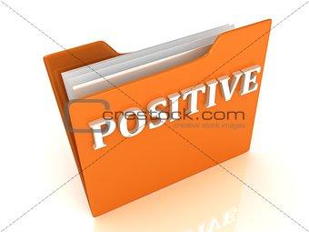POSITIVE bright white letters on a orange folder