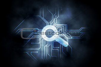 Circuit board and magnifying glass graphic