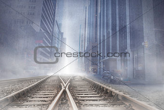 Cityscape projection over railway tracks