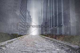 Cityscape projection above stony path