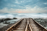 Railway tracks leading to misty mountains