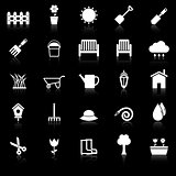 Gardening icons with reflect on black background