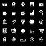 Money icons with reflect on black background