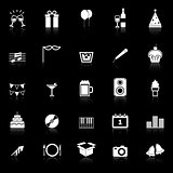 New Year icons with reflect on black background