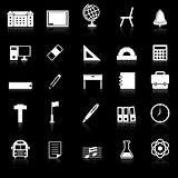 School icons with reflect on black background