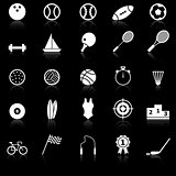 Sport icons with reflect on black background