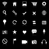 Web icons with reflect on black background