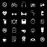 Wellness icons with reflect on black background