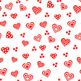 Seamless pattern with various red and white hearts