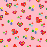 Seamless pattern with various colorful hearts