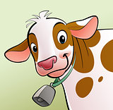 Smiling cow with brown dots and a cowbell