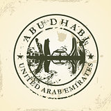 Grunge rubber stamp with Abu Dhabi, UAE
