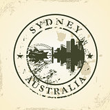 Grunge rubber stamp with Sydney, Australia