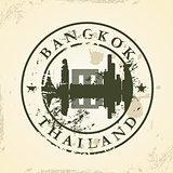 Grunge rubber stamp with Bangkok, Thailand