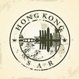 Grunge rubber stamp with Hong Kong, SAR