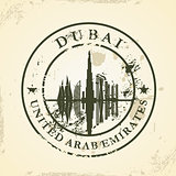 Grunge rubber stamp with Dubai, UAE