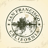 Grunge rubber stamp with San Francisco, California