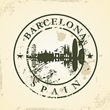 Grunge rubber stamp with Barcelona, Spain