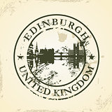 Grunge rubber stamp with Edinburgh, United Kingdom