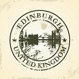 Grunge rubber stamp with Edinburgh, United Kingdom