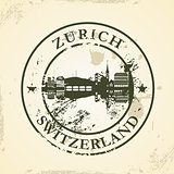 Grunge rubber stamp with Zurich, Switzerland