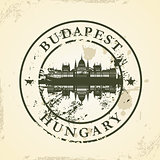 Grunge rubber stamp with Budapest, Hungary