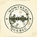 Grunge rubber stamp with Montreal, Quebec