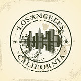 Grunge rubber stamp with Los Angeles, California