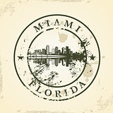 Grunge rubber stamp with Miami, Florida