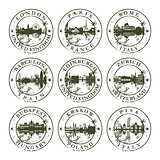 Grunge rubber stamps with London, Paris, Rome, Barcelona, Edinbu