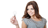 young female holding bulb