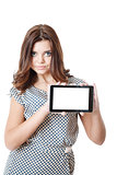 young female showing tablet pc