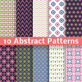 10 Abstract patterns (tiling). Set of vector seamless spring backgrounds.