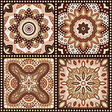 Set of brown romantic patterns