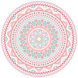 Decorative pink and blue round pattern frame on white background